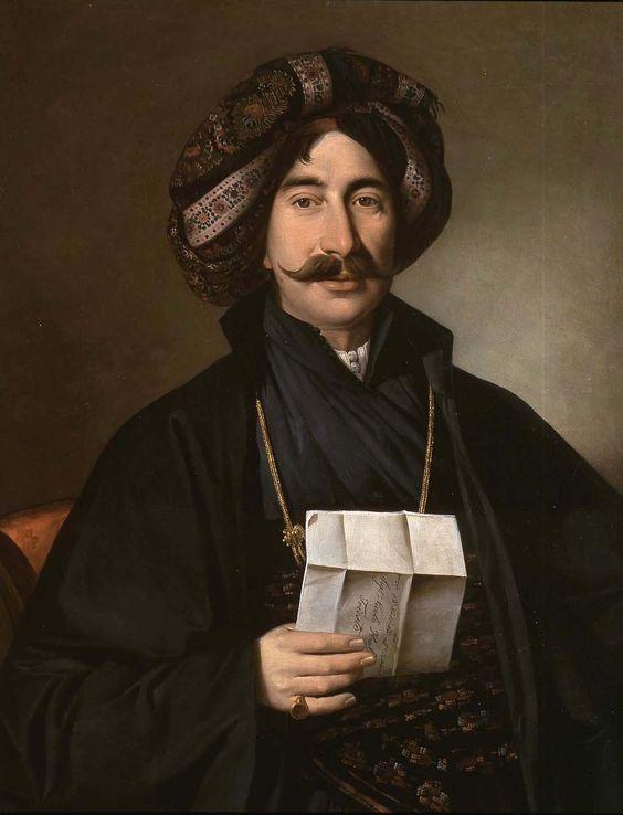 'Portrait of a Turkish man' by Giuseppe Tominz (1790-1866). Ottoman, Balkans, mid-19th century.