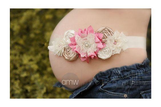 Faja maternidad rosa y crema bandas de por FlourishingCreations, $35.99
