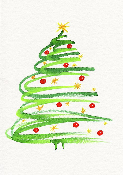 Watercolor Painting Of A Beautifully Decorated Christmas Tree In