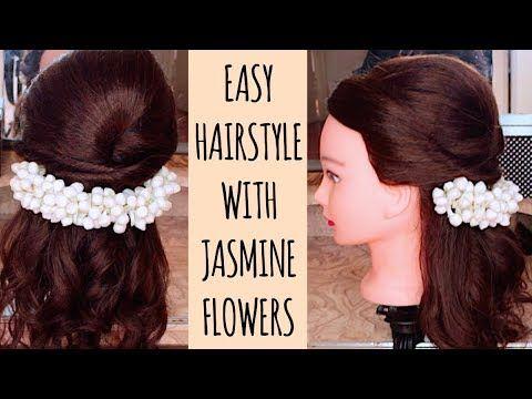 Half Up Half Down Hairstyle With Jasmine Flowers Gajra For Tamil Hindu Weddings Thuri Flower Girl Hairstyles Half Up Half Down Hair Long Hair Wedding Styles