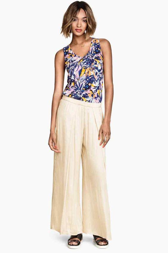Pantalón ancho de satén | H&M