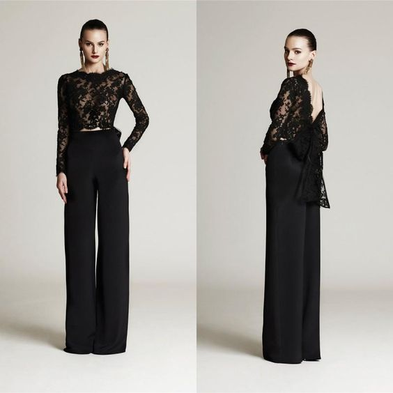 The groom suit elegant 2015 black lace mother of the bride pant suits