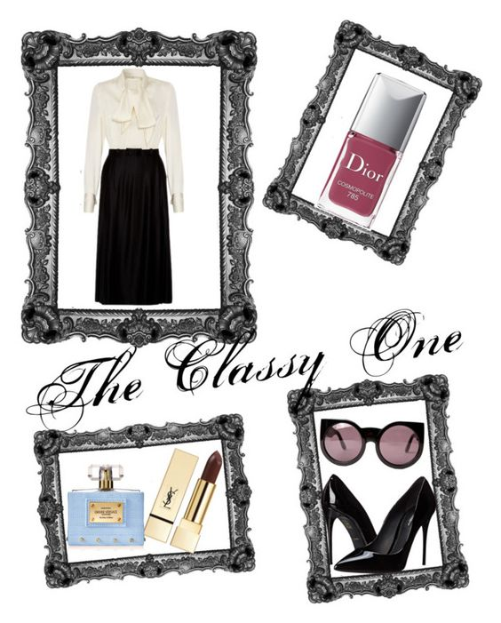 """The Classy One"" by lovefashionxxxxxx ❤ liked on Polyvore featuring Lanvin, Christian Dior, Dolce&Gabbana, Wildfox, PUR, Versace, women's clothing, women's fashion, women and female"