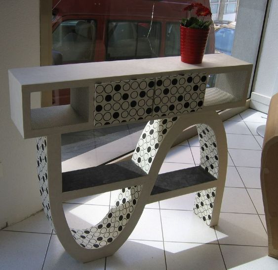 console vague en carton meubles en carton pinterest consoles. Black Bedroom Furniture Sets. Home Design Ideas