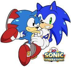 Classic Sonic tackling Modern Sonic. SO CUTE!!!!