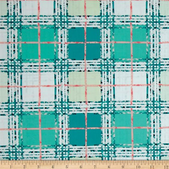 Art Gallery Lavish Trellis Plaid Fresh from @fabricdotcom  Get inspired by these beautiful colors and floral inspired patterns that will be sure to delight the eye. Designed by Katarina Roccella for Art Gallery Fabrics, this cotton print is perfect for quilting, apparel and home decor accents. Art Gallery Fabric features 200 thread count of finely woven cotton. Colors include navy, turquoise, teal, pink, grey, mint and white.