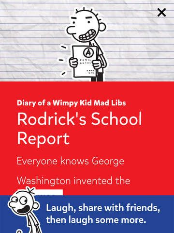 An all-new Diary of a Wimpy Kid version of the world's greatest word game! Fill in the blanks and be the funniest person in the room! #wordgame #kids #wimpykid