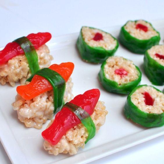 Made it for Jake's B-Day - Lego Ninjago Party - Rice crispy sushi rolls