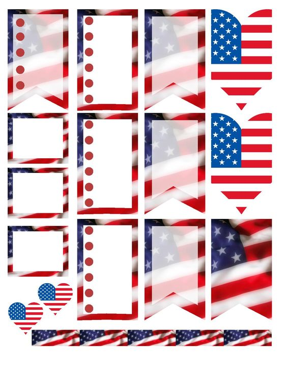Patriotic I Love the USA stickers.  Free planner printable stickers, sized for the large happy planner (print at 85% for regular happy planner). Stickers are free, but if you like them I ask you donate to my Alzheimer's Memory Walk. Stickers are through my facebook group:  https://www.facebook.com/groups/plannerstickersforacure/