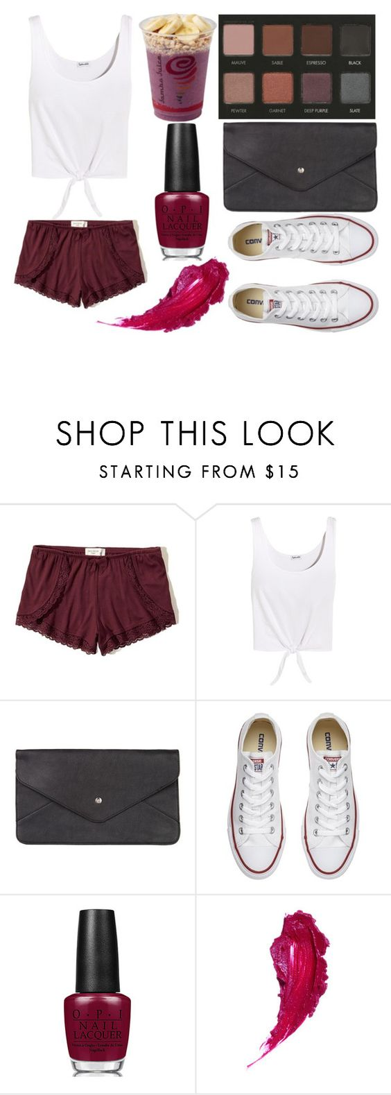 """""""Sans titre #5239"""" by crazymoustik ❤ liked on Polyvore featuring Hollister Co., Splendid, LORAC, Double Oak Mills, Converse and OPI"""