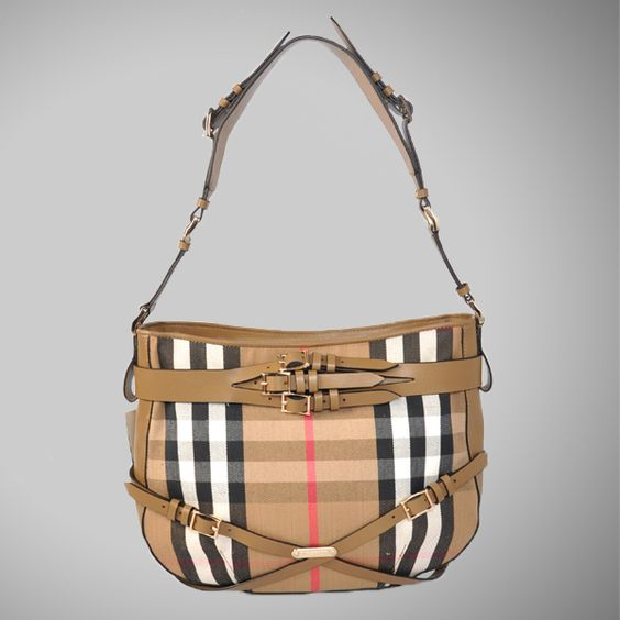 Cheap Burberry Bridle Hobo House Check Tote Bag 37570491-1 On Sale  $178.00