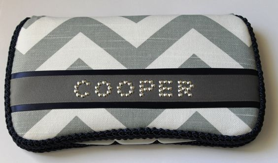 Grey+&+White+Chevron+with+Navy+Baby+Wipes+Case+by+TheSparkleBaby,+$18.95