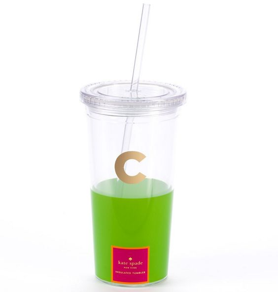 Stay cool and stylish with this pretty green paint dipped style tumbler  featuring a gilded monogram. Dipped Initial  C  Tumbler by Kate Spade New York   Tumblers