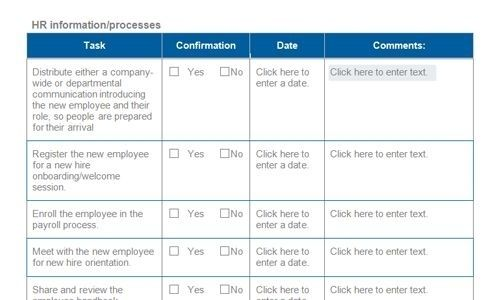 Free Onboarding Checklists And Templates Smartsheet Within Hr
