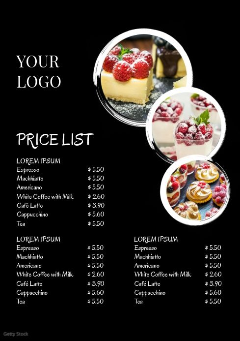Price Liste Menu Card Offers Business Flyer Food Menu Template Food Menu Menu Card Design