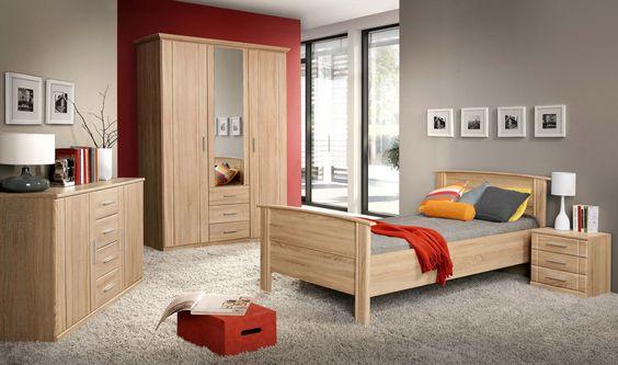 Schlafzimmer Mit Bett 100 X 200 Cm Sonoma Eiche Woody 77-00256 MDF - schlafzimmer massiv komplett