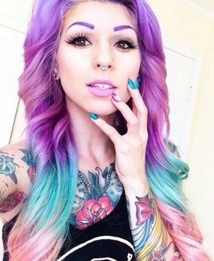 Purple blue ombre dip dyed rainbow hair
