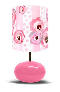 Polka Dots and Pink Roses on Pink Base - Lamp