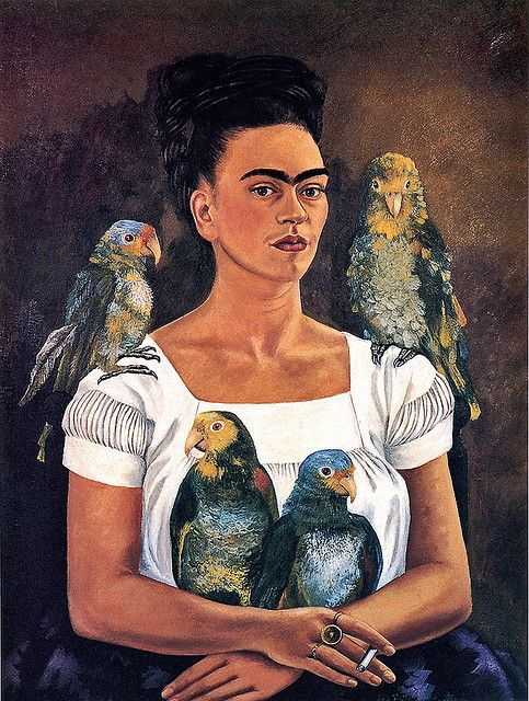 Frida Kahlo, Me and My Parrots.  Source:  androgyns #frida kahlo