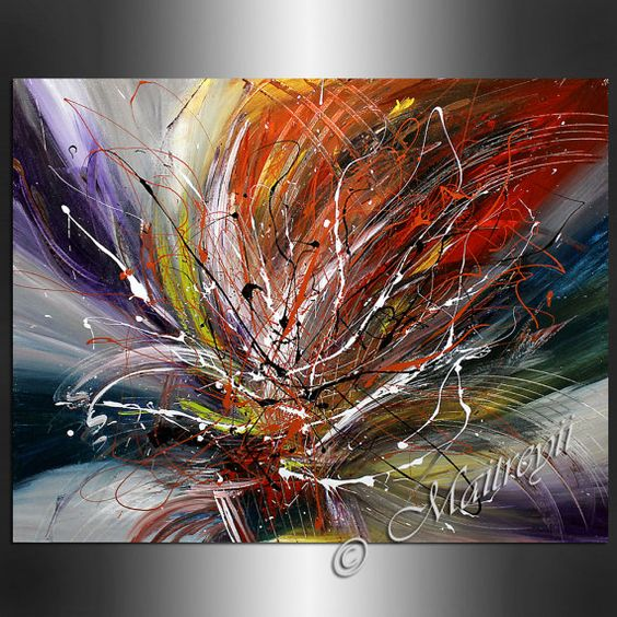 Abstract large artwork abstract paintings blue red modern for Palette knife painting acrylic