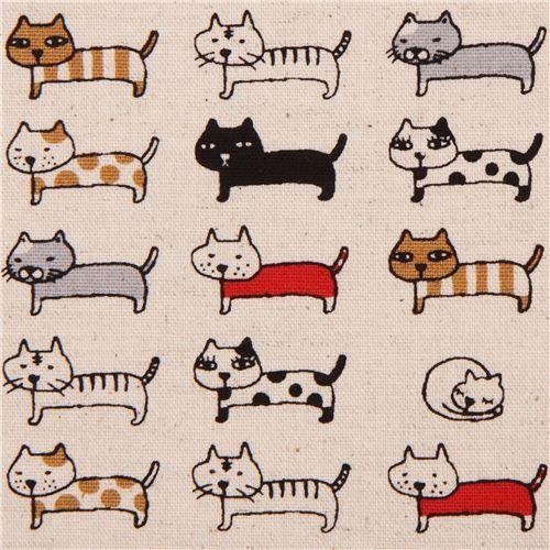 naturfarbener Katzen Tier Canvas Stoff aus Japan  2