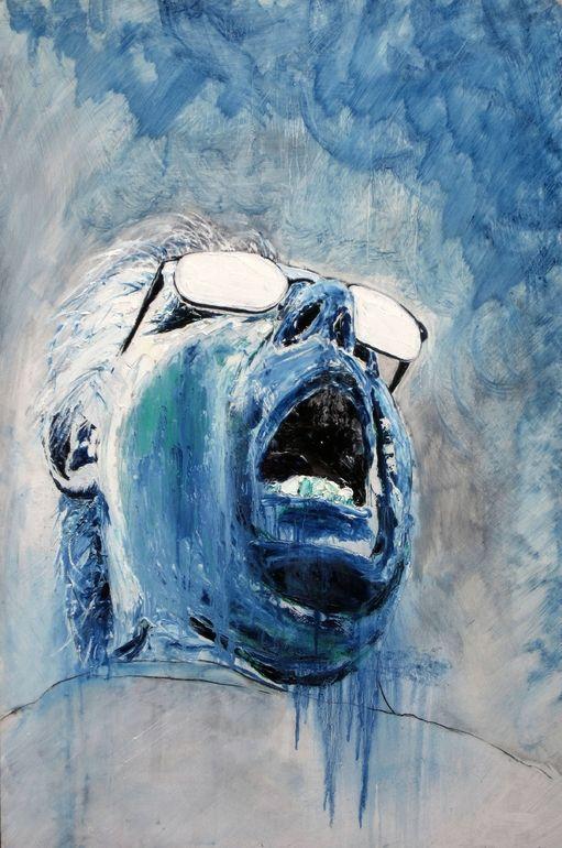 "Harry Kent; Oil, 2010, Painting ""Blue Rain"""