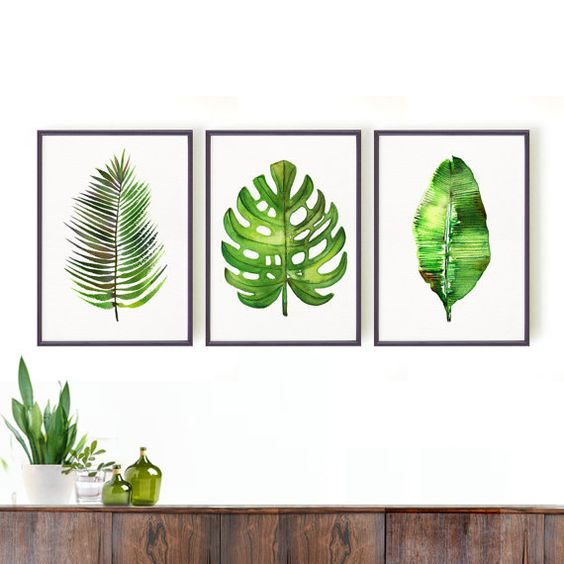 Palm leaf watercolor painting, Set of 3 Botanical art, Green leaf art, Nature art, Spring decor, Tropical, Monstera, Banana leaf, Areca palm: