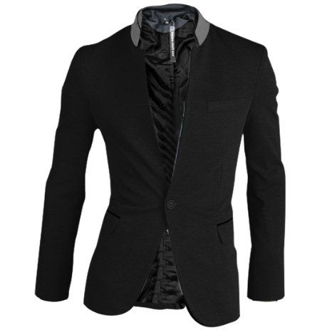 Amazon.com: Men Stand Collar Long Sleeve One Button Closure Pockets Blazer: Clothing
