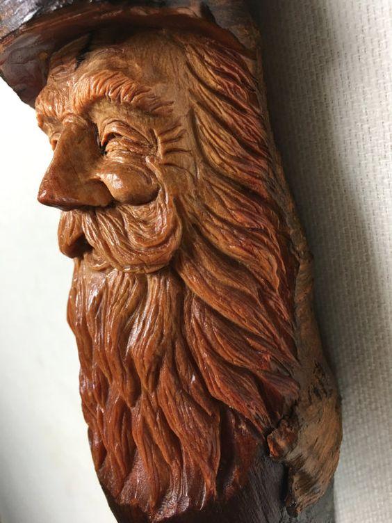 Wood carving of wood spirit Elf Wizard tree by TreeWizWoodCarvings