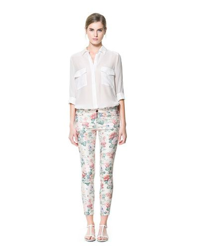 5 POCKET FLORAL PRINT TROUSERS - Trousers - Woman - New collection | ZARA Philippines