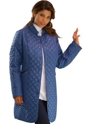 Roamans Women&39s Plus Size Quilted Coat | Jean jacket for women