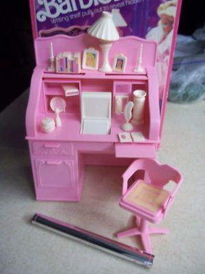 Vintage 1990 Barbie Sweet Roses Furniture Roll Top Desk