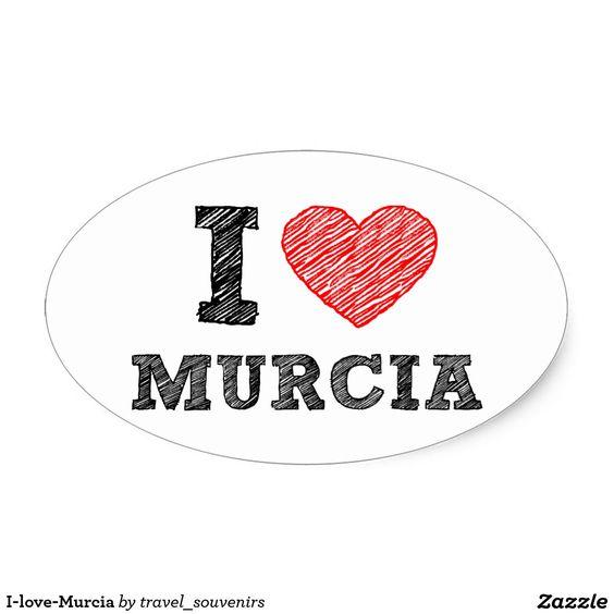 Yo-amor-Murcia Pegatina Ovalada