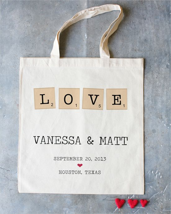Personalised Tote Bag with Love and Couple Initials Printed on it with Wedding Date-Function Mania-Unique Wedding Favours Your Guests Will Definitely Love!
