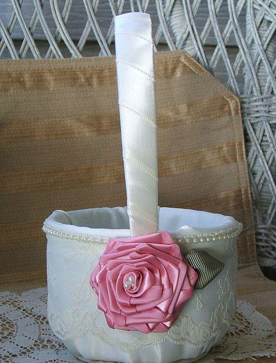 Wedding Flowergirl Basket Handmade EMBRACE by RoseGardenStitches