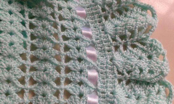 Manta verde para bebê em crochê | Ateliê dos Pontos | Elo7