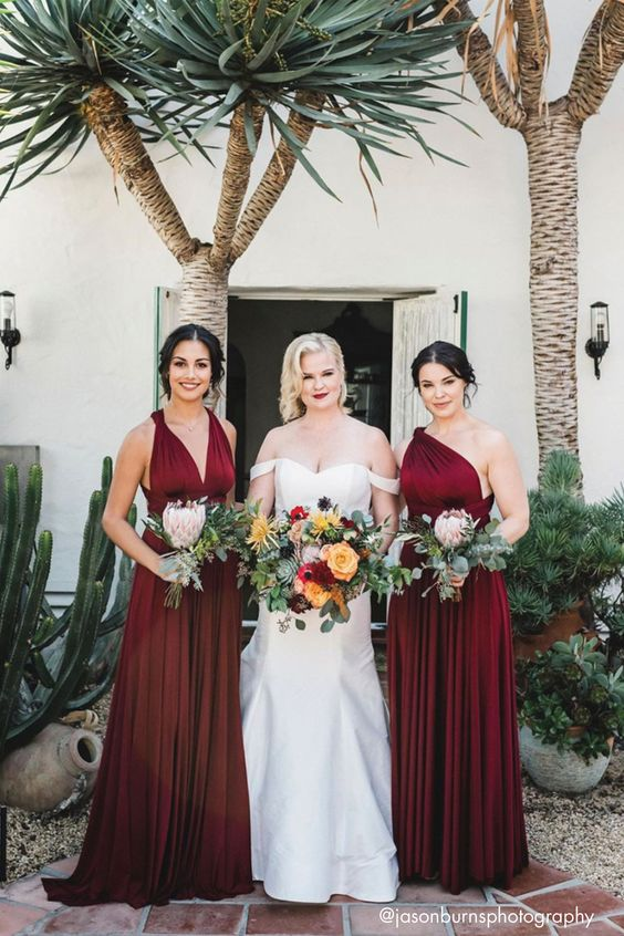 Burgundy and White Wedding Bouquets