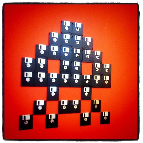 Space Invaders Floppy Disk for Walls! I would let josh put this in his office :)