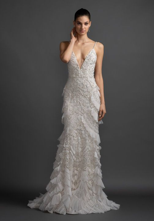 Style 3901 Tatiana Lazaro Bridal Gown Ivory Beaded And Embroidered Art Deco Inspired Sl Wedding Dresses Kleinfeld Fitted Wedding Dress Art Deco Wedding Dress