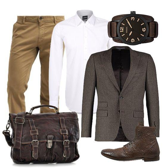 """Es muss nicht immer Mister Grey sein, um die Damenwelt zu verzaubern. Schmeißt Euch in Schale Jungs und beeindruckt Eure Liebste mit einer stilsicheren Kombination in Braun- und Beigetönen. Eine schmale Hose mit passendem Jackett kombiniert Ihr am besten mit """"robusten"""" Accessoires, wie Armbanduhr, schicke Boots und natürlich der stylishen Tasche NEWMAN von REBELS & LEGENDS."""