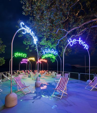 BUREAU A's neon boardwalks in preparation for the Montreux Jazz Festival