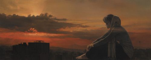 Meeting with the sun - Oil on canvas - 80x200