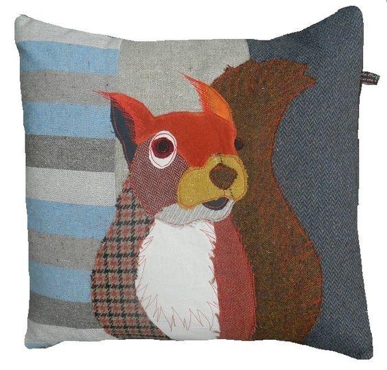 Squirrel applique look pillow/cushion. Carola Van Dyke - British countryside cushion collection - squirrel