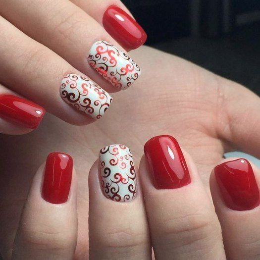August nails, Beautiful red nails, Red and white nails, Red nails ideas, Red…