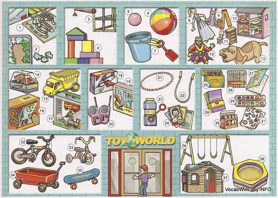 THE TOY STORE 1 board game 2 (jigsaw) puzzle 3 construction set 4 (building) blocks 5 rubber ball 6 beach ball 7 pail and shovel 8 doll 9 doll clothing 10 doll house 11 doll house furniture 12 action figure 13 stuffed animal 14 matchbox car 15 toy truck 16 racing car set 17 train set 18 model kit 19 science kit 20 walkie-talkie (set) 21 hula hoop 22 jump rope 23 bubble soap 24 trading cards 25 crayons 26 (color) markers 27 coloring book 28 construction paper 29 paint set 30 (modeling) clay…