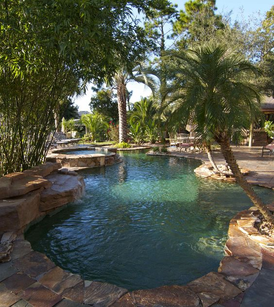 Crystal stones green ice matches great with palm trees for Pool design jacksonville fl