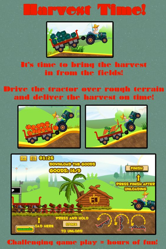 Harvest Time is an online action game for kids. Drive the tractor over rough terrain and bring the harvest to the depot!