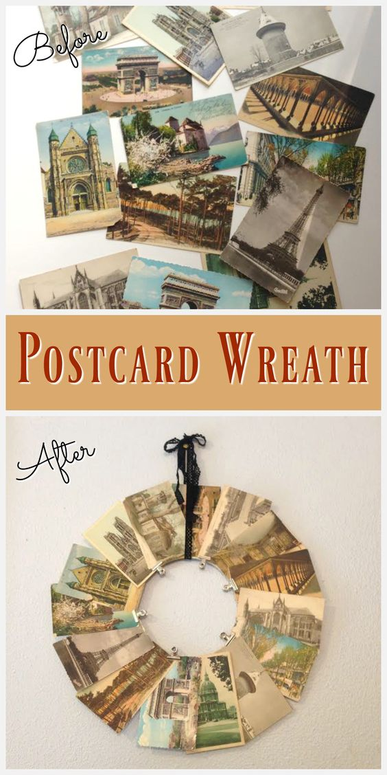 I made this easy (and cheap!) vintage postcard wreath with supplies I already…