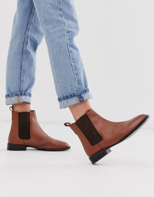 leather chelsea boots in tan   ASOS