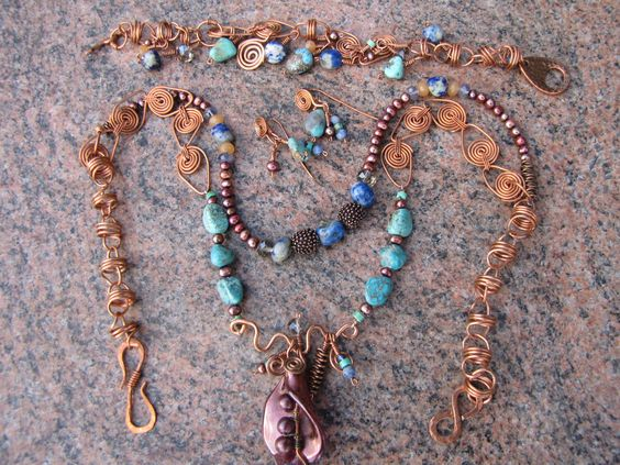 Complete set of copper with turquoise & iolite.